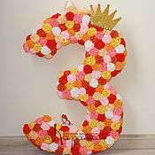 Как сделать объемную цифру 3 из салфеток своими руками