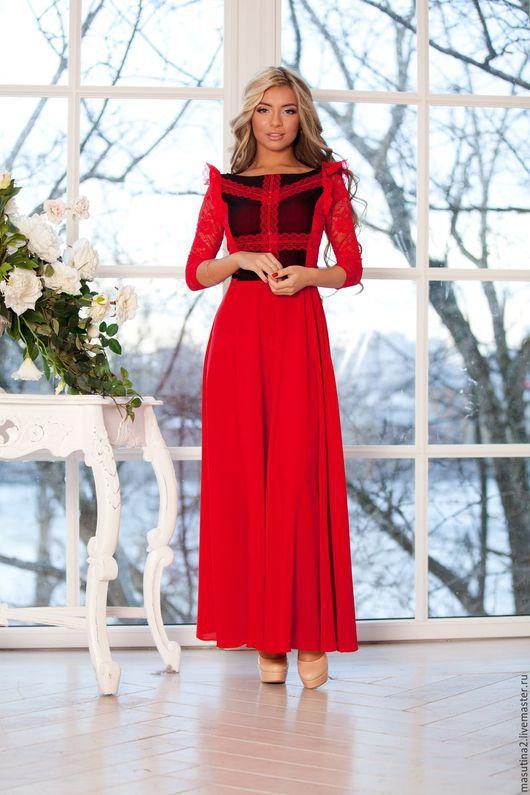 """Платья ручной работы. Ярмарка Мастеров - ручная работа. Купить Платье """"Пламя"""". Handmade. Ярко-красный, платье на заказ"""