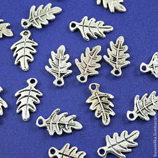 Для украшений ручной работы. Ярмарка Мастеров - ручная работа. Купить Подвеска Листик №17 дубовый, античное серебро (1шт). Handmade.