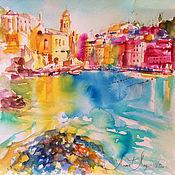 Картины и панно handmade. Livemaster - original item Cinque Terre coast, watercolor painting, painting with the sea. Handmade.