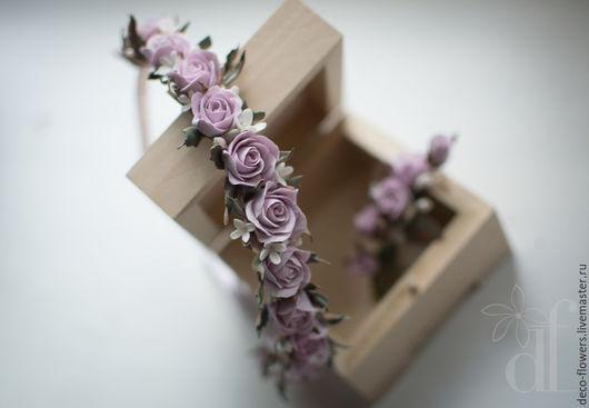 Свадебные украшения ручной работы. Ярмарка Мастеров - ручная работа. Купить Свадебный комплект с розочками (ободок и бутоньерка). Handmade. Розовый