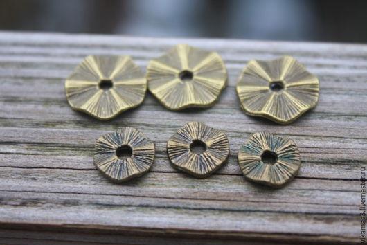 Для украшений ручной работы. Ярмарка Мастеров - ручная работа. Купить Спейсеры волнистые, цвет бронза, 10 и 14 мм. Handmade.