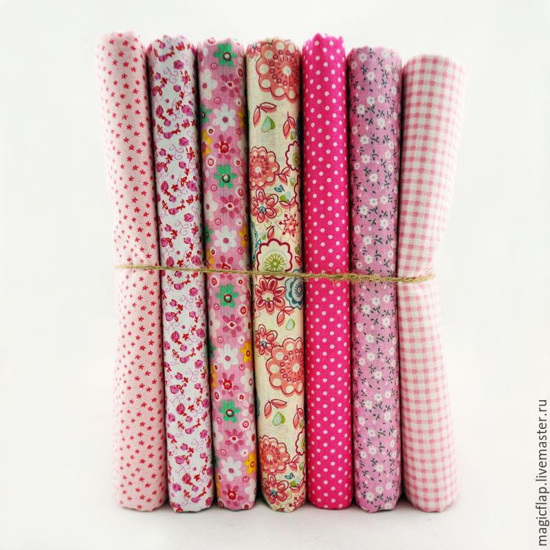 Набор тканей хлопок Розовый. Для пэчворка, игрушек, текстиля, детской, Ткань, Истра, Фото №1