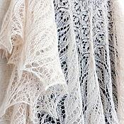 Аксессуары handmade. Livemaster - original item Openwork down shawl knitted Shawl spokes of mohair white ivory. Handmade.