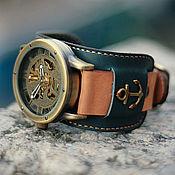 handmade. Livemaster - original item Anchor mechanical wrist watch wide bracelet. Handmade.