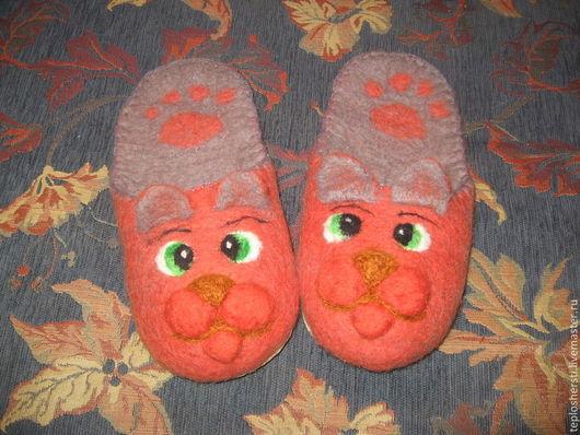 """Обувь ручной работы. Ярмарка Мастеров - ручная работа. Купить Тапки женские """"Рыжий кот"""". Handmade. Оранжевый, шлепки из шерсти"""