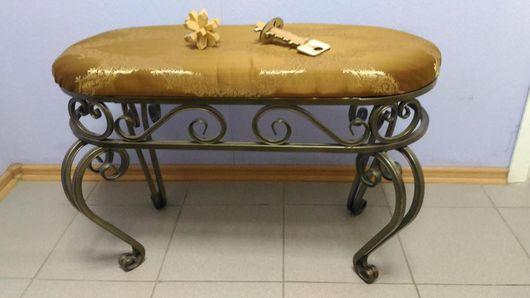 Мебель ручной работы. Ярмарка Мастеров - ручная работа. Купить Банкетка из элементов ковки. Handmade. Черный, белый, золото, серебряный