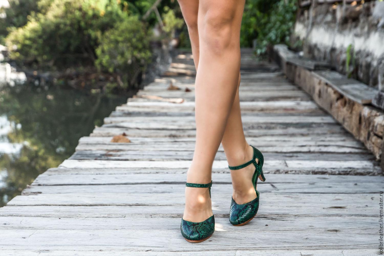 Ярмарка Мастеров - ручная работа. Купить Туфли на каблуке из натуральной · Обувь  ручной работы. Туфли на каблуке из натуральной кожи питона. bbf02cb991b