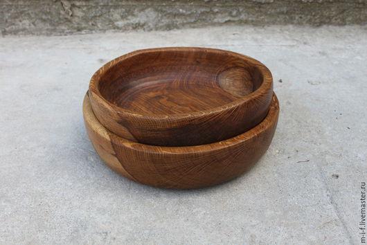 Тарелки ручной работы. Ярмарка Мастеров - ручная работа. Купить Деревянные миски из крымского дуба. Вкладываются она в другую. (28х6). Handmade.