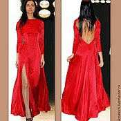 Одежда handmade. Livemaster - original item Dress red silk