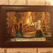 """Картины и панно ручной работы. Ярмарка Мастеров - ручная работа Картина маслом """"У камина"""". Handmade."""