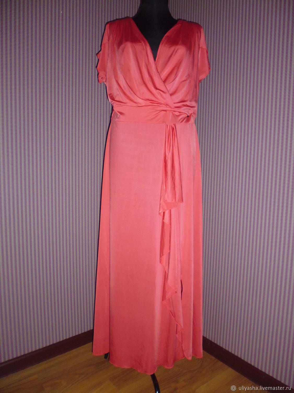 Платье летнее 52-54 р-ра нарядное кораллового цвета, Платья, Яхрома,  Фото №1