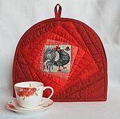 """Для дома и интерьера ручной работы. Ярмарка Мастеров - ручная работа Грелка для чайника """" Петушки"""" красная. Handmade."""