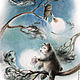 """Фантазийные сюжеты ручной работы. Ярмарка Мастеров - ручная работа. Купить Иллюстрация к сказкам Козлова """"Ежик и Медвежонок протирают звезды"""". Handmade."""