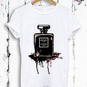 Одежда handmade. Livemaster - original item Perfume print cotton t-shirt - TEE10001CT. Handmade.