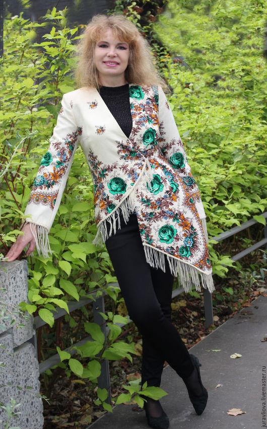 Пиджаки, жакеты ручной работы. Ярмарка Мастеров - ручная работа. Купить Жакет-тyника бeло-зeлeнaя russian style. Handmade.