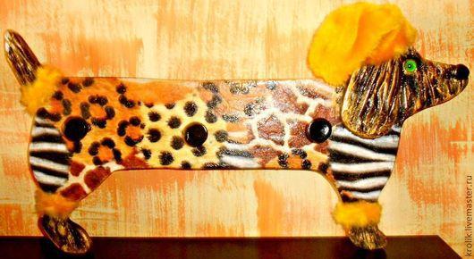 """Прихожая ручной работы. Ярмарка Мастеров - ручная работа. Купить Вешалка """"Гламурная такса """" № 2.. Handmade. Желтый"""