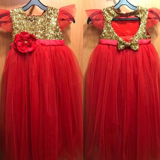 Одежда для девочек, ручной работы. Ярмарка Мастеров - ручная работа. Купить Лёгкое нарядное платье. Handmade. Еврофатин, кружево, атлас