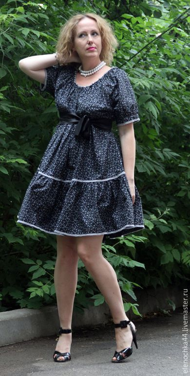 """Платья ручной работы. Ярмарка Мастеров - ручная работа. Купить Летнее платье """"Черника"""". Handmade. Тёмно-синий, платье хлопок"""