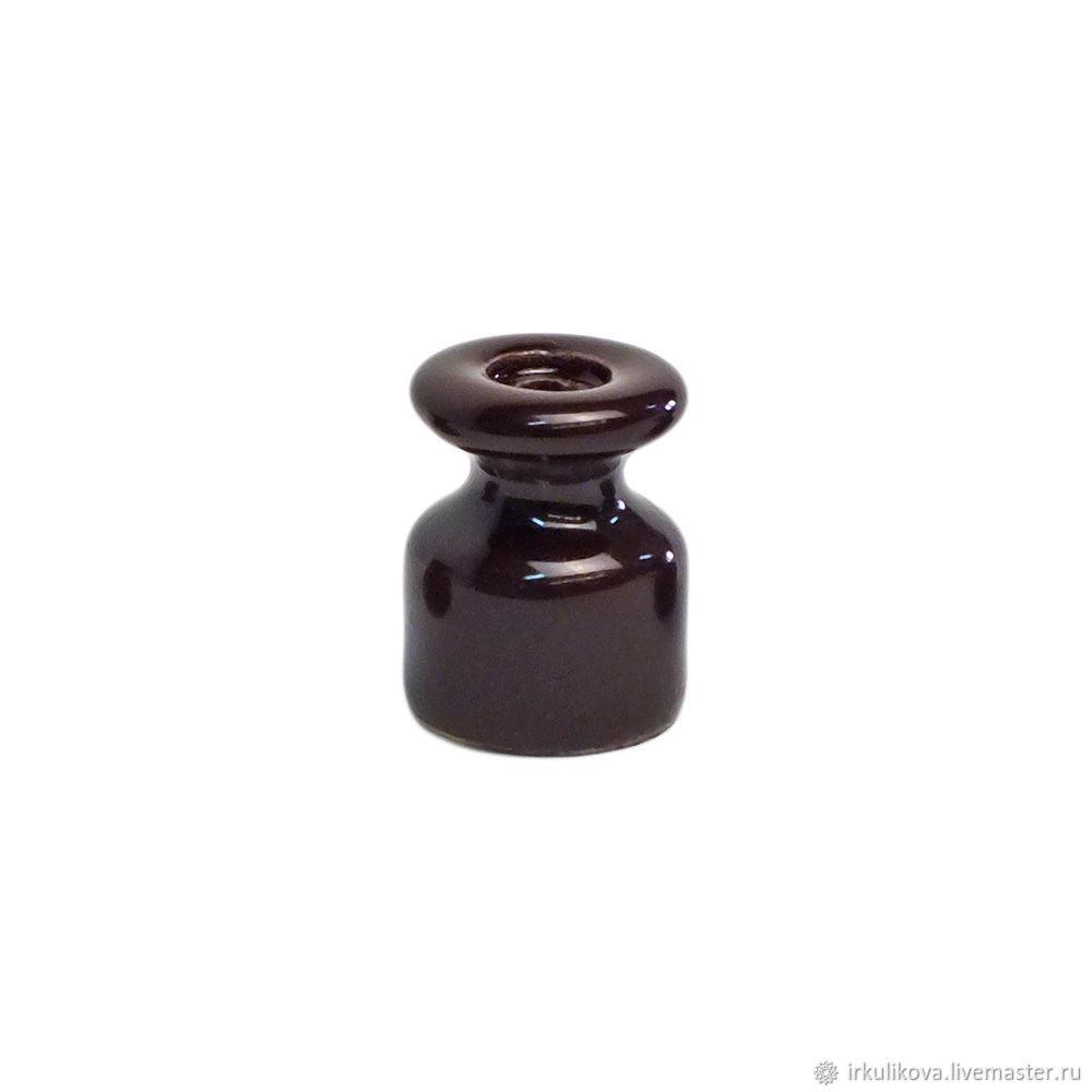 Изолятор керамический 19х24 мм,коричневый, Дизайн, Москва,  Фото №1