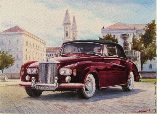 """Город ручной работы. Ярмарка Мастеров - ручная работа. Купить Акварель """"Ролс-Ройс silver cloud drophead--coupe  1962г. Handmade."""