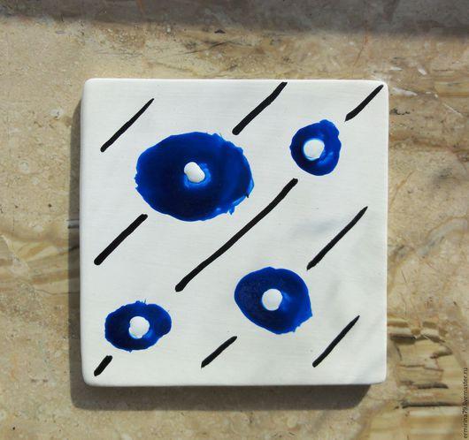 Декоративная посуда ручной работы. Ярмарка Мастеров - ручная работа. Купить Керамическая плитка Бусины. Handmade. Декоративная тарелка, белый