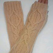 Аксессуары handmade. Livemaster - original item Fingerless long gloves with Arana, beige. Handmade.