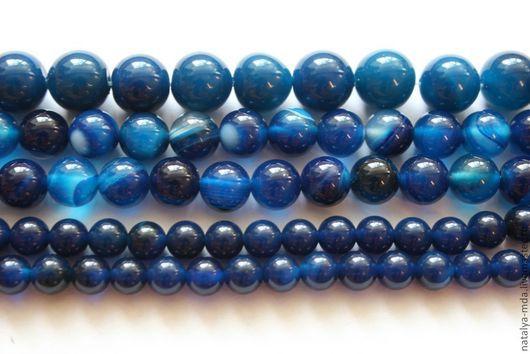 Для украшений ручной работы. Ярмарка Мастеров - ручная работа. Купить Агат синий бусины. Handmade. Тёмно-синий, бусины
