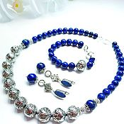 Украшения handmade. Livemaster - original item Set of jewelry with lapis lazuli and lava. Handmade.