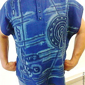 """Одежда ручной работы. Ярмарка Мастеров - ручная работа Рубашка поло мужская  """"Солнцестояние"""" из льна. Handmade."""