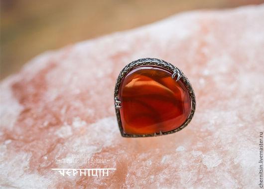 """Кольца ручной работы. Ярмарка Мастеров - ручная работа. Купить кольцо из меди """" Сердце дракона"""". Handmade. Ярко-красный"""