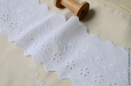 Шитье ручной работы. Ярмарка Мастеров - ручная работа. Купить Кружево шитье хлопок 11 см - белый. Handmade.
