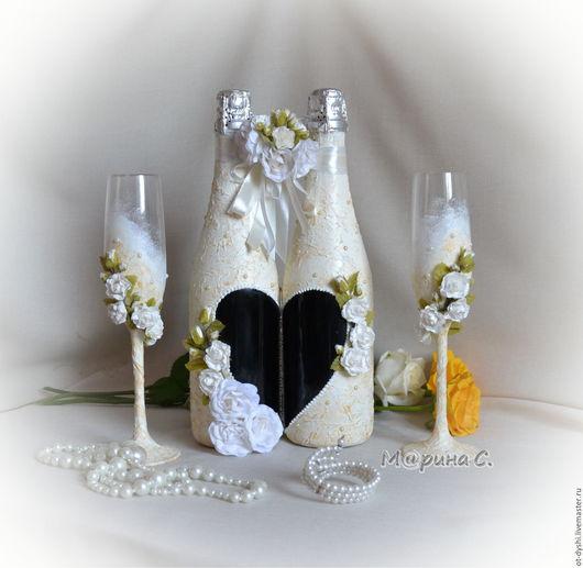 Свадебные аксессуары ручной работы. Ярмарка Мастеров - ручная работа. Купить Свадебный набор.. Handmade. Бежевый, свадебный набор