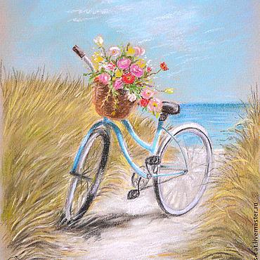 Картины и панно ручной работы. Ярмарка Мастеров - ручная работа Море, солнце, велосипед.... Handmade.