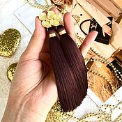Украшения handmade. Livemaster - original item Earrings-brush Dark chocolate chocolate brown silk gold plated. Handmade.