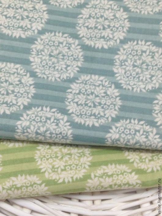 Шитье ручной работы. Ярмарка Мастеров - ручная работа. Купить Ткань Tilda Flower Ball Teal / Olive. Handmade.