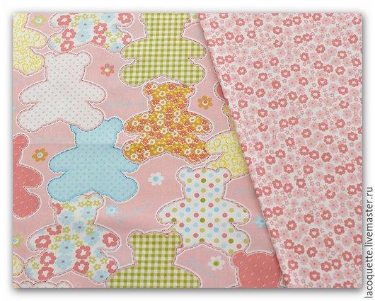 Шитье ручной работы. Ярмарка Мастеров - ручная работа. Купить PatchworkBeary Pink Ткань для  пэчворка. Handmade. Розовый, хлопок, мишка