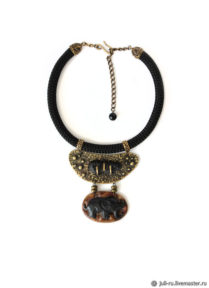 Choker necklace with carved Jasper pendant and tektite Echo of centuries, Necklace, Chelyabinsk,  Фото №1
