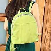 Сумки и аксессуары handmade. Livemaster - original item Backpack light green genuine leather. Handmade.