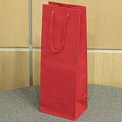 Пакеты ручной работы. Ярмарка Мастеров - ручная работа 14х37х10 - пакет красный с ручками веревочными. Handmade.