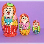 """Русский стиль ручной работы. Ярмарка Мастеров - ручная работа Матрёшка""""Клоуны"""" 3 места. Handmade."""