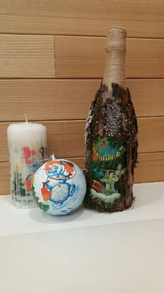 """Подарочное оформление бутылок ручной работы. Ярмарка Мастеров - ручная работа. Купить декор (украшение)бутылок """"Чудеса Нового Года"""". Handmade."""