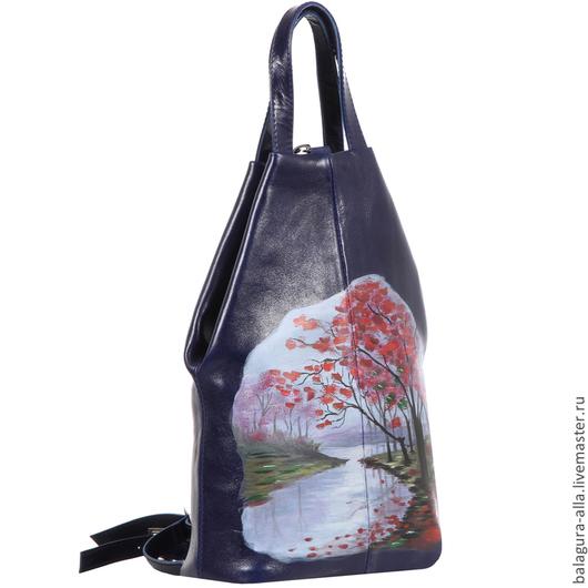 """Женские сумки ручной работы. Ярмарка Мастеров - ручная работа. Купить Сумка-рюкзак """"Красивая осень"""". Handmade. Синий, рюкзак"""