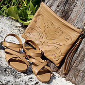 handmade. Livemaster - original item Sandals made of genuine leather Pure Beige. Handmade.