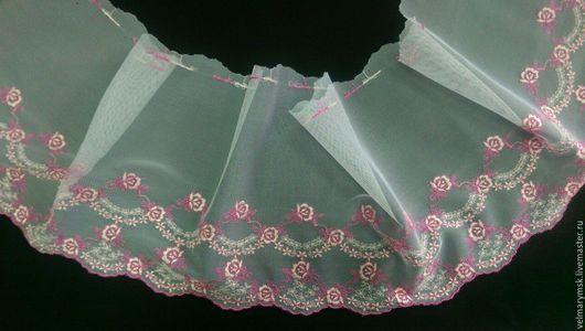 Аппликации, вставки, отделка ручной работы. Ярмарка Мастеров - ручная работа. Купить вышивка на сетке  Mil-35 бело/ розово бежевого цвета. Handmade.