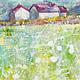 Пейзаж ручной работы. Ярмарка Мастеров - ручная работа. Купить Очертания снов. Handmade. Зеленый, салатовый, желтый, дом, поле