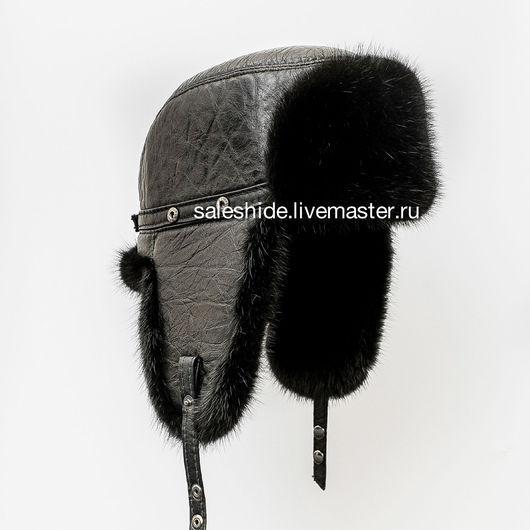 Для мужчин, ручной работы. Ярмарка Мастеров - ручная работа. Купить Мужская шапка ушанка из натурального меха норки. Handmade.