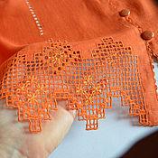 Одежда ручной работы. Ярмарка Мастеров - ручная работа Жакет льняной терракотового цвета с вышивкой. Handmade.