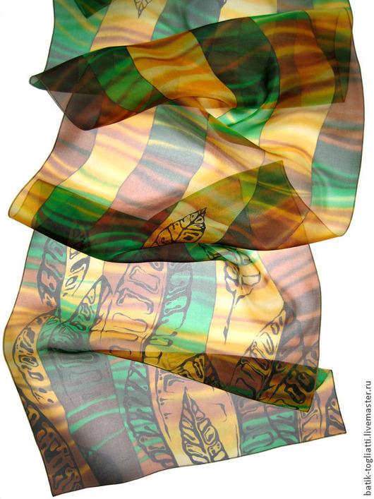 """Шарфы и шарфики ручной работы. Ярмарка Мастеров - ручная работа. Купить батик шарф """"Листья"""". Handmade. Рисунок, батик шарф"""