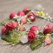 """Колье и браслет """"Розовый рассвет"""" (розы, розочки)"""